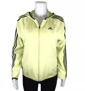 Women's -M- ADIDAS Athletic Windbreaker Hoodie, Yellow-Green/ Black Trim, Lined