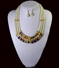 Perlenkette Kette Ohrringe 3 Reihig Bettelkette Halskette Perlen Glas Vergoldet