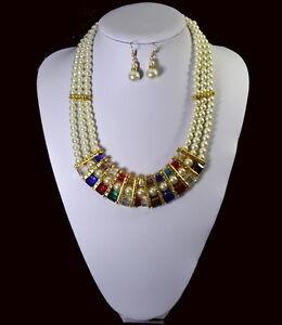 Collana di Perle Collana Orecchini 3 Fili Collana Perle Vetro