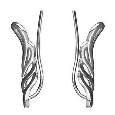 925 Sterling Silver Angel Wing Ear Crawlers Climbers Sweep Up Earrings