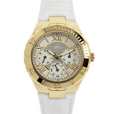 New Authentic Guess Woman white leather Strap Multi function Watch U10597L1 NWT