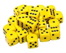 24 jaune dés, (six faces), 16mm, D6
