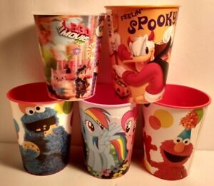 Five Misc. Plastic 16oz My Little Pony Cookie Monster Mickey Mouse Uni Kitty Etc