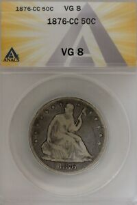 1876-CC .50   ANACS   VG 8  1800's Half Dollar, Liberty Seated Half