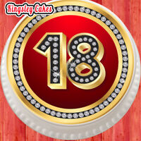 LARGE CAKE TOPPER 7.5 INCH EDIBLE ICING 60TH GOLD HAPPY BIRTHDAY KCL015232