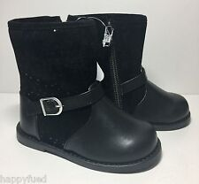 GYMBOREE Black Toddler Boot Back To Blooms Girls Size 7 Side Zip Textured NWT