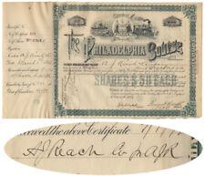 Baseball Pioneer A. J. Reach Signed Philadelphia Bourse Stock