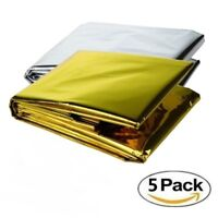 GOLD-5 PACK • Emergency Solar Blanket Survival Safety Insulating Mylar Thermal