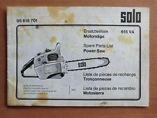 Ersatzteilliste SOLO 615 VA Motorsäge Kettensäge 1973 Power Saw Parts List