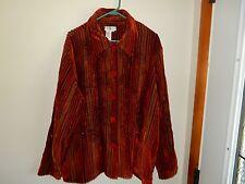 COLDWATER CREEK Women's 2X Jacket Rust Velvet Stripes Embroidery Beads Blazer