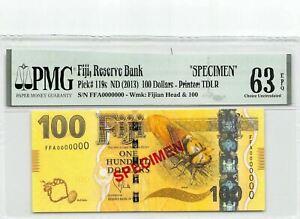 Fiji  $100  ND.  2013  P 119s  Specimen  Series  FFA Uncirculated Banknote
