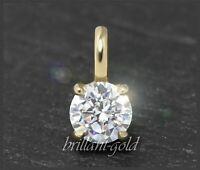 Diamant Brillant 585 Gold Anhänger, 0,54ct, Si2; 14 Karat Damen Gleiter NEU