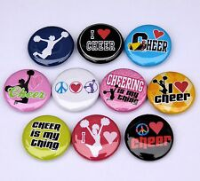"10 CHEERLEADER Buttons Pinbacks Badges 1"" Cheer Sport Girls Teen Cheering"