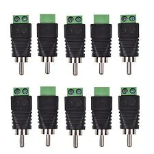 10pcs/Lot Phono RCA Male Plug to AV Screw Terminal Plug Connector CCTV AV Balun