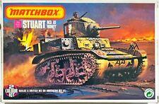 1977 Matchbox Stuart M3/A1 Honey WW2 Tank - 2 Color Model Kit [ 1:76 Scale ]
