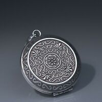 Silver Stainless Steel Keepsake Pendant openable round lotus prayer Necklace