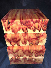 1 pc  Red Flame Box Elder Turning Wood Call Blank Lathe 6 x6 x 2