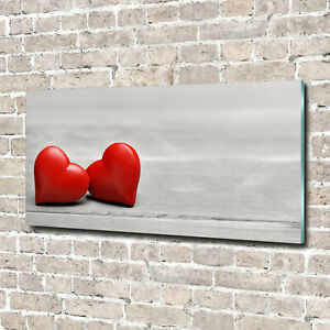 Tulup Glass Acrylic Print Wall Art Image 140x70cm - Hearts on the wood