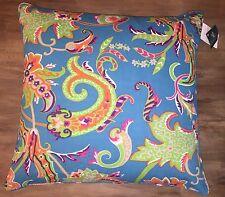 RALPH LAUREN RIVERSAND PAISLEY Turquoise Blue 20x20 Decorative Throw Pillow