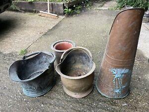 Vintage Tall Copper/Brass Coal Scuttle