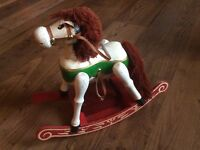 Vtg Dressage Christmas decor Wood rocking handpainted equestrian Horse music key