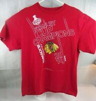 2010 Stanley Cup Champions Chicago Blackhawks S/S T Shirt Mens Lg REEBOK
