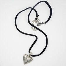 heart pendant leather chain necklace lia sophia jewelry antique silver plated