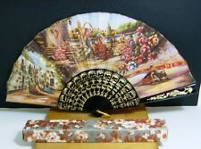 Chinese Hand Held Fan Multi-Colour With Gold Trim