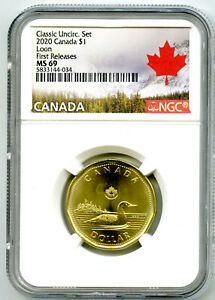 2020 CANADA $1 NGC MS69 FIRST RELEASES CLASSIC LOON LOONIE TOP GRADE=2