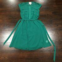 Modcloth Shirt Dress Women's Size XS Chiffon Green Tie Waist Sheer Overlay Lined