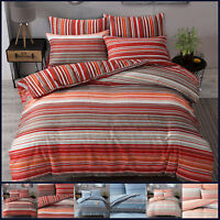 Stripe Duvet Quilt Cover Set With PillowCase Super King Size Double Single Ombre