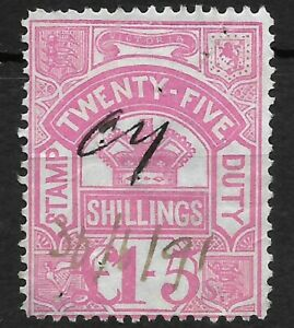 V335) Victoria 1879-1900 25/- Pink Stamp Duty, fiscally used. With pinholes
