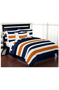 Sweet Jojo Designs 4-Piece Navy Blue, Orange and White Stripe Childrens, Teen...