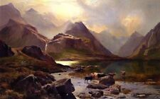 Dream-art Oil painting Sidney Richard Percy - sunset landscape & cows drinking @