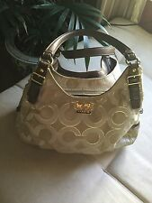 Coach Madison Maggie Op Art Khaki Signature Jacquard Brown Leather Gold Hardware