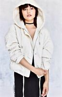 Urban Outfitters Jacket Hooded ivory Pattern Quilted Zip Front XS / S NEW