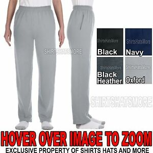 Youth OPEN BOTTOM Sweatpants with POCKETS Boys Girls Kids Jerzees NEW