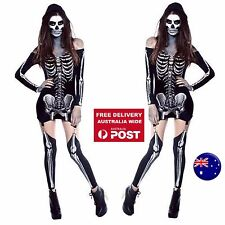 Adult Woman Black white Skeleton Bone Party Fancy sexy Halloween Costume Top