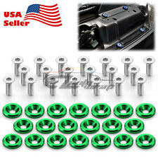 20pcs Green Billet Aluminum Fender Bumper Washer Bolt Engine Bay Screw Kit JDM