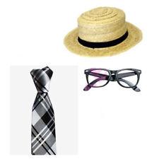 Black Silver Tartan Tie Nerd Glasses Straw Boater Hat School Girl Fancy Dress