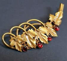JOSEFF OF HOLLYWOOD Brooch Pin Gold w/ Leaves Ruby Glass Stones 1940s Vtg