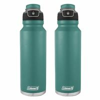 Coleman FreeFlow Autoseal Water Bottle 40oz Seafoam Blue Stainless Steel(2-Pack)
