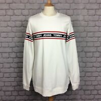 TOMMY HILFIGER MENS UK XL WHITE RELAXED FIT TAPE CREW SWEATSHIRT JUMPER RRP £70