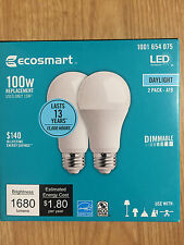 EcoSmart 100W Equivalent Daylight A19 Dimmable LED Light Bulb (2-Pack)