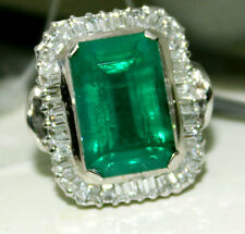 Natural Green Zambia Emerald Engagement 18k white gold Diamond Ring Colombia