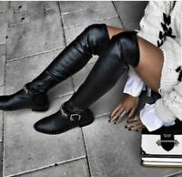 Zara AW17 Flat Over The Knee Boots With Chain Size 7.5 NWT