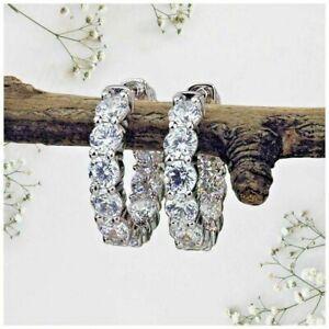 Huggie Hoop Earrings 925 Streling Silver 3.25ct Round Cut Moissanite Diamond