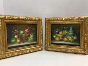Vintage Paintings Fruit Baskets Gilded Gold Ornate Frame Wall Hangings Set Of 2
