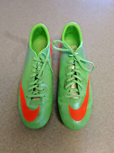 "Nike ""Mercurial"" Green,Blue,Orange Synthetic Soccer Cleats, Men's 10 (eur 44)"