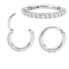 16G Paved Cz Clear Gem Ear Helix Hoop Segment Clicker Steel Earring Hinged Ring
